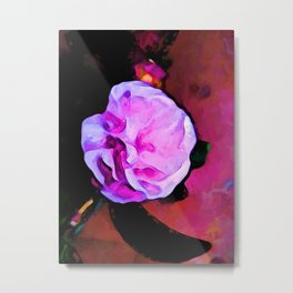 Still Life with a Pink Flower and a Black Leaf Metal Print