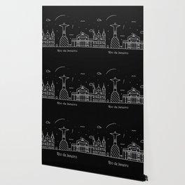 Rio de Janeiro Minimal Nightscape / Skyline Drawing Wallpaper