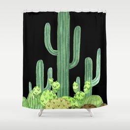 Night Desert Prickly Cactus Bunch Shower Curtain