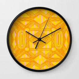 vintage kantha: orange & yellow Wall Clock