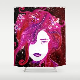 Flower Power SpaceGirl Shower Curtain