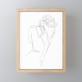 concealment - one line nude art Framed Mini Art Print