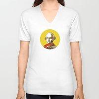 mozart V-neck T-shirts featuring Mozart Kugel Yellow by Marko Köppe