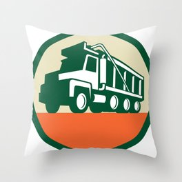 Triple Axle Dump Trunk Low Angle Circle Retro Throw Pillow