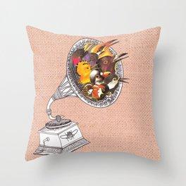 Bird Gramophone Cover Art Throw Pillow