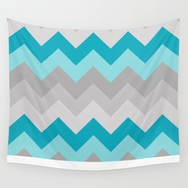 Teal Turquoise Blue Grey Gray Chevron Ombre Fade Wall Tapestry