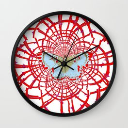 ARTISTIC RED-WHITE BUTTERFLY DREAM CATCHER WEB Wall Clock
