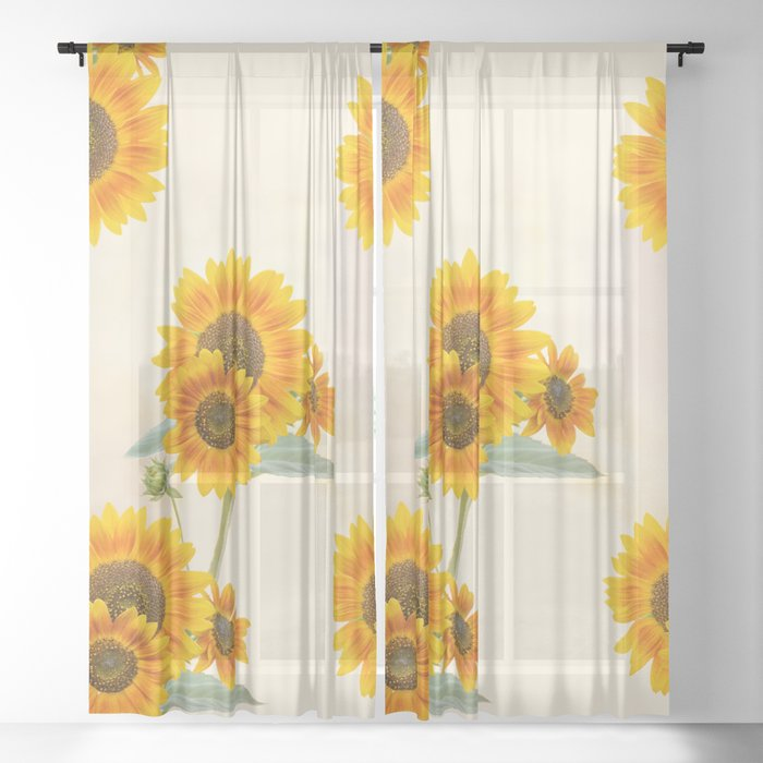 Sunflowers paterns Sheer Curtain