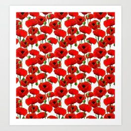 Red Poppy Pattern Kunstdrucke