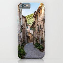 Empty street in Valldemossa village - Mallorca, Spain iPhone Case