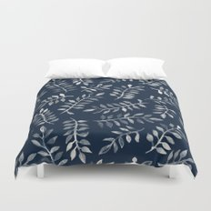 White Leaves on Navy - a hand painted pattern Duvet Cover