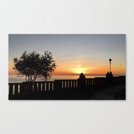 Romantic sunset in Bogliasco, Genoa Canvas Print