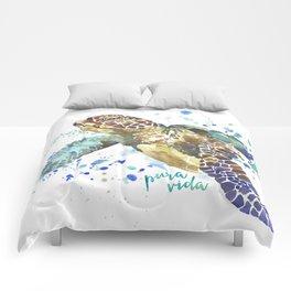 Sea Turtle Pura Vida Watercolor Comforters