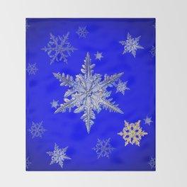"""MORE SNOW"" BLUE WINTER ART DESIGN Throw Blanket"