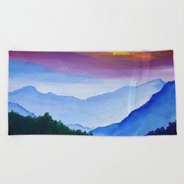 Smokey Mountain Sunset Beach Towel