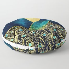 Golden Peacock Floor Pillow