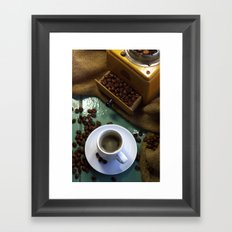 Fresh coffee from the coffee grinder Framed Art Print