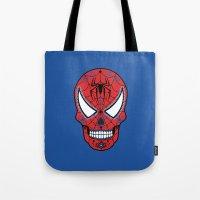 superheros Tote Bags featuring Spidey Sugar Skull by Clark Street Press