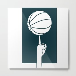 Basketball spinning on a finger Metal Print