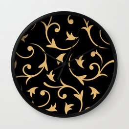 Baroque Design – Gold on Black Wall Clock