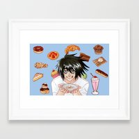 death note Framed Art Prints featuring L from Death Note by Naineuh