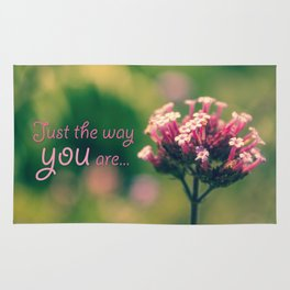 Spring Blooming Pink Flowers with Green Bokeh Background Rug