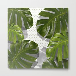 """Monstera plant on polka dots and white"" Metal Print"
