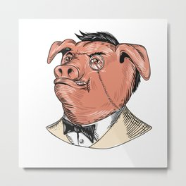 Aristocrat Pig Monocle Tuxedo Drawing Metal Print