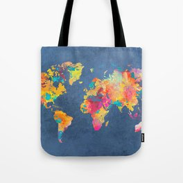 world map blue 2061 #map #worldmap Tote Bag
