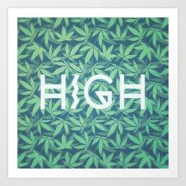 HIGH TYPO! Cannabis / Hemp / 420 / Marijuana  - Pattern Art Print