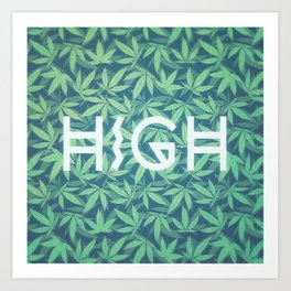 HIGH TYPO! Cannabis / Hemp / 420 / Marijuana  - Pattern Art Print
