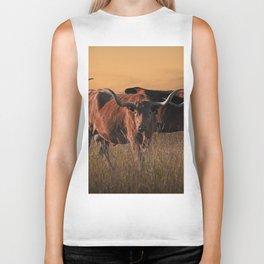 Texas Longhorn Steers on the Prairie at Sunset Biker Tank