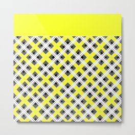 Combo black yellow plaid Metal Print