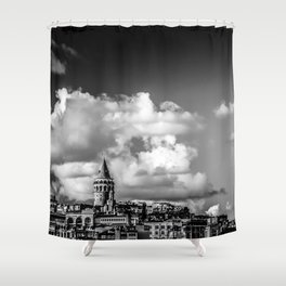 Istanbul: A Fusion of Black and White Shower Curtain