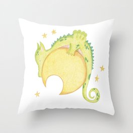 dragon & moon Throw Pillow