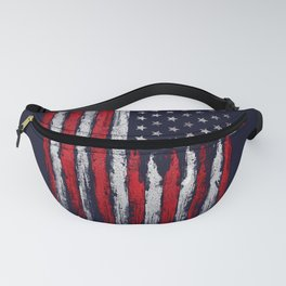 Red & white American flag on Navy ink Fanny Pack