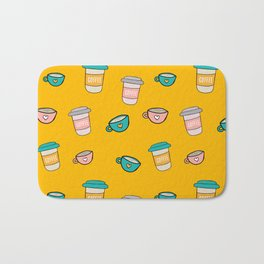 Happy coffee cups and mugs in yellow background Bath Mat
