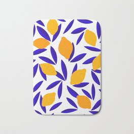 Blue and yellow Lemon Summery Pattern Bath Mat
