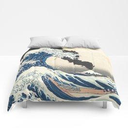 Great Wave off Kanagawa Mount Fuji Explosion Comforters