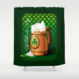 Wooden beer mug with foam and clover Shower Curtain