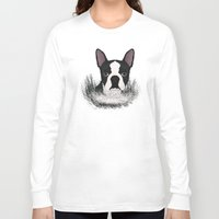boston Long Sleeve T-shirts featuring Boston terrier by Nir P