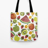 fruits Tote Bags featuring fruits by Ana Rey