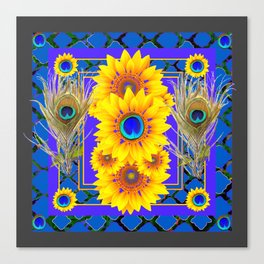 GREY-BLUE PEACOCK  SUNFLOWERS DECO JEWELED ABSTRACT  FLORAL Canvas Print
