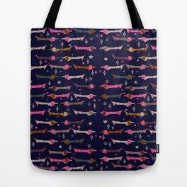 Dappled Dachshund Print with Navy Background Tote Bag
