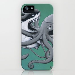 megalodon vs. giant squid iPhone Case