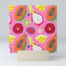 Seedy Fruits in Hot Neon Pink Mini Art Print