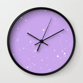 Pastel Purple Night Sky Wall Clock