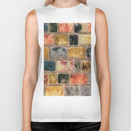 Multi-Colored Brick Wall Decorative Pattern Biker Tank