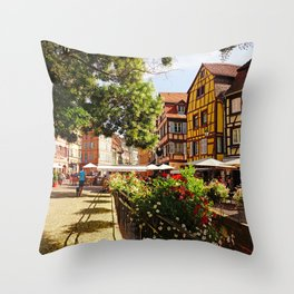 Colorful Colmar Architecture - Fine Arts Travel Photography Throw Pillow