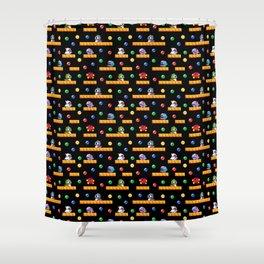 Bubble Bobble Retro Arcade Video Game Pattern Design Shower Curtain